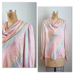 Vintage pastel striped blouse, gold lurex threads